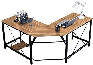 DlandHome 150 cm + 150 cm Computertisch Eckschreibtisch Winkelschreibtisch L-förmig, großer Gaming Schreibtisch Arbeitstisch Bürotisch PC Laptop Studie Tisch mit CPU-Ständer,Eiche & Schwarz
