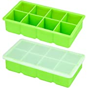 """OMORC Ice Cube Trays 2 Pack 100% Pure Silicone, Large 1.89""""16-Ice Trays with Spill-Resistant Removable Lid, LFGB RoHS FDA Certified BPA Free Food-Safe, Non-Sticking Stackable Durable & Dishwasher Safe"""