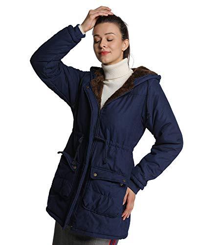 4How Manteau Femme Fausse Fourrure Parka Longue Fourrure à Capuche Mi Sasion Noir Bleu Foncé Taille FR40