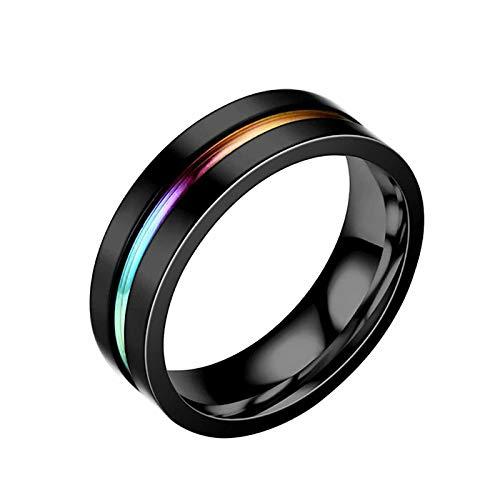 Janly Clearance Sale Anillos para mujer, acero de titanio, color negro, anillo de dos tonos de acero inoxidable, tamaño 6-10, conjuntos de joyas, día de San Valentín (A-8)