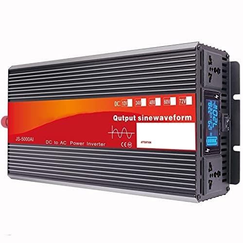 LONGRING Inversor de Potencia de Onda sinusoidal Pura, Pantalla LCD de Control de Chip Inteligente 3000W-6000W 12V24V48V a 220V Adaptador de conversión,48v 220v 4000w