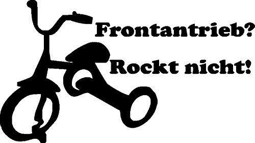 NetSpares 119838094 1 x 2 Plott Aufkleber Frontantrieb Rockt Nicht Dreirad Rad Sticker Tuning Fun