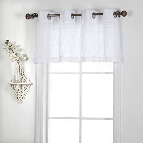 White Window Treatment Valance Grommet Top Light Filtering Privacy Semi Sheer Short Curtains product image