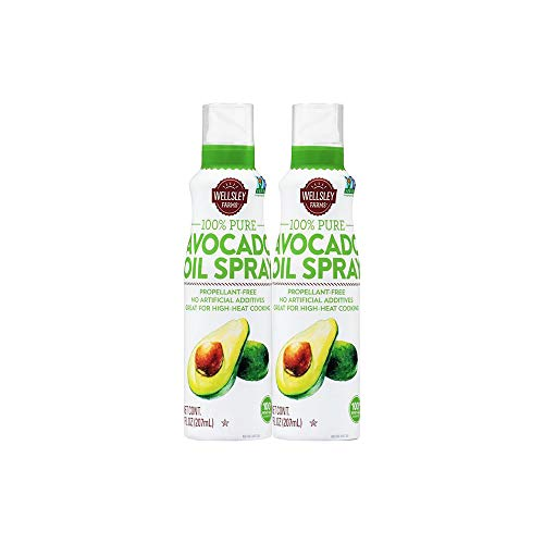 Wellsley Farms' 100% Pure Avocado Oil Spray 2 Pack - Non-GMO - Great for High-Heat Cooking, Baking, and Frying - No Artificial Additives - Propellant-Free