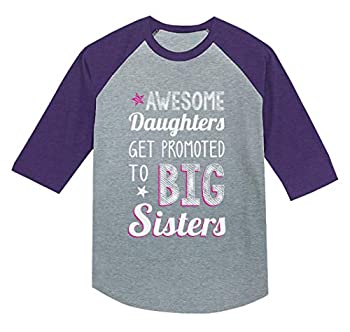 Awesome Daughters Get Promoted to Big Sisters Sibling Youth Raglan 3/4 Sleeve Baseball Tee X-Small Purple
