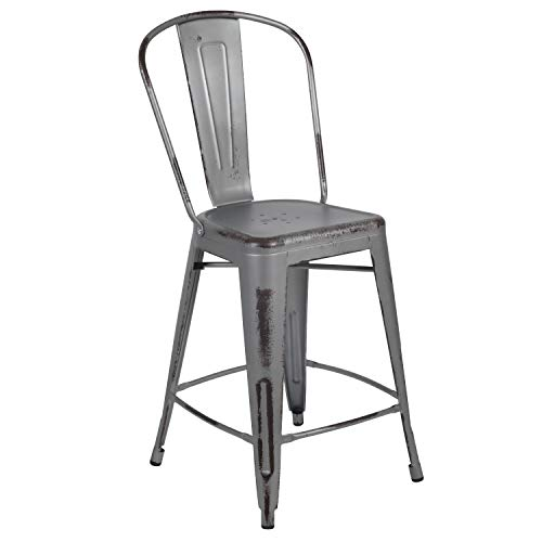 Flash Furniture 24' High Distressed Silver Gray Metal Indoor-Outdoor Counter Height Stool with Back