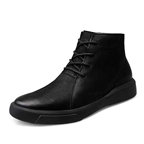 Liangcha-0401 Botas de Tobillo de Moda para Hombres Daily Comfy Light and High Top Outsole Boots (Velvet Cálido Opcional) (Color : Warm Black, Size : 44 EU)