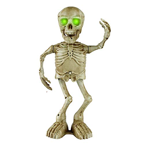 Christmas Dancing Skeleton Ghost Skull Bones Moveable Animated Singing Scary Skull Props with LED Eyes Indoor Decorations for Kids Gift (16Inch)
