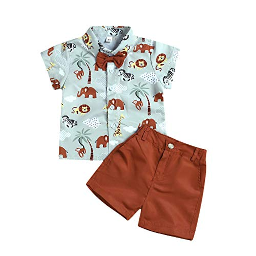 Cuteelf Baby Set Kind Baby Boy Kurzarm Cartoon Animal Print Shirt einfarbig Shorts Set Kind Kurzarm Fliege Cartoon Animal Print Shirt + einfarbig Shorts Set