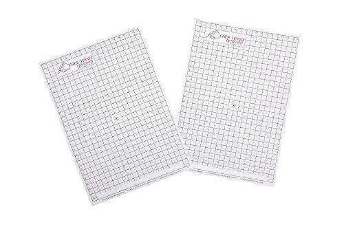 2 x A4 \'Freihändiges Designer\' Blatt. 2 x Gitterblatt . Schablone für perfekte gerade Linien. Gitterblatt ermöglicht Maßzeichnungen zu erstellen.
