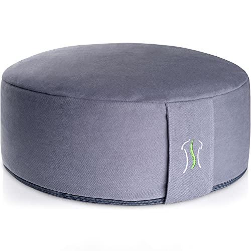 BACKLAxx Cojin de Meditacion con Relleno de Trigo Sarraceno - Cojin Zafu Meditación 100% Natural - Cojin Yoga Redondo para Meditar, Almohada Yoga