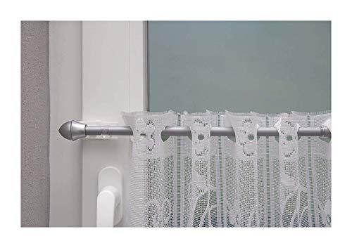 Beyond Drape gordijnroede, uittrekbaar, klassiek klemdrager, tot 20 mm zonder boren, voor het ophangen van vitragegordijnen voor boven of zijdelings aan het raam, ijzer, chroom-mat, 50-75 cm