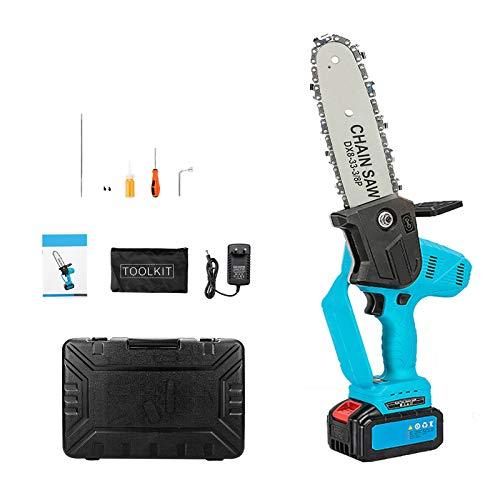 Eachbid Motosierra a batería portátil eléctrica de 8 pulgadas portátil motosierra de poda recargable 21 V 10 cm para ramas