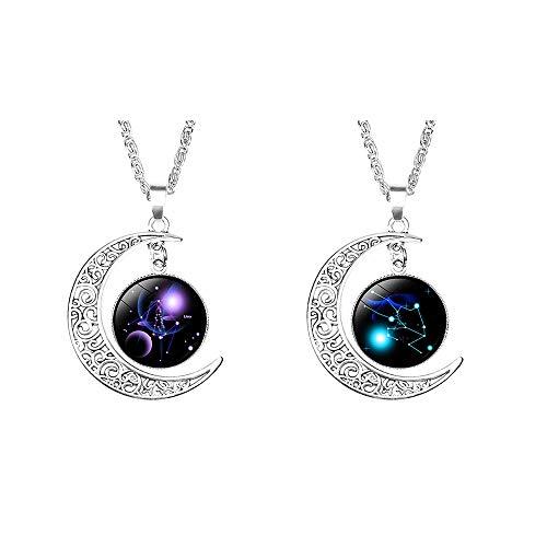 ANLW Mode Frauen Zwölf Sternbilder Charme Glas Kuppel Mond Anhänger Halskette Waage, Stier,2 Stück