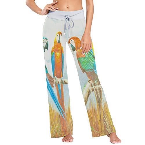 XiangHeFu Pantaloni Pigiama da Donna, Pantaloni da Yoga, Leggings Inferiori, Pantaloni da Salotto a Vita Alta, Pappagallo Ara colorato Dipinto