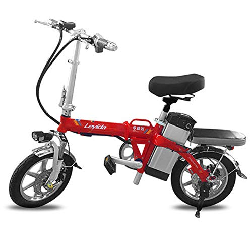 Hxl elektrische fiets 14 inch aluminium Smart Folding draagbare e-bike met 48 V lithium-ion accu E-bike 400 W krachtige motor maximaal dubbele schokdempers fietsen met schijfrem, rood, 180 km