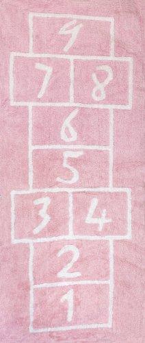 Aratextil Pata Coja Alfombra Infantil, Algodón, Rosa, 90x20