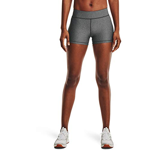 Under Armour Pantalones Cortos Heatgear Armour Mid Rise Short para Mujer, Mujer, Pantalones Cortos, 1360925-019, Charcoal Light Heather Black 019, Small
