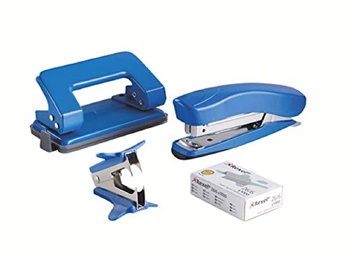 Rexel Schreibtisch-Set mit Heftgerät und Locher (Farblich Sortiert)