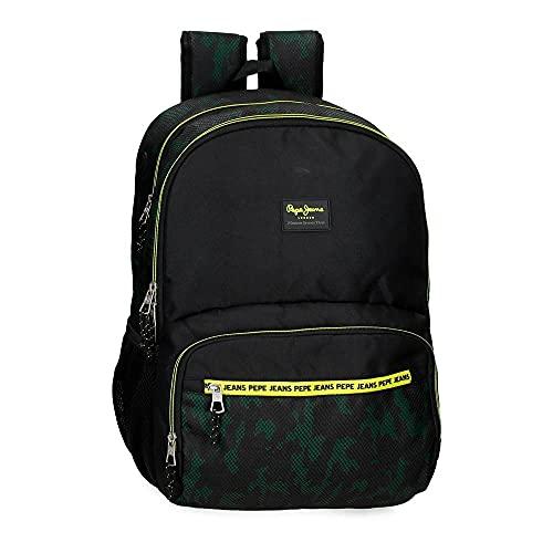 Pepe Jeans Milton Mochila Escolar Doble Compartimento Adaptable a Carro Negro 33x46x17 cms Poliéster 25,81L