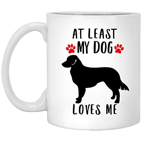N\A Divertida Silueta de Perro Perdiguero de peaje de Pato de Nueva Escocia al Menos mi Perro me ama Taza de café Blanco de 11 onzas