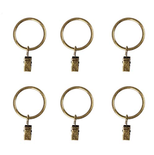 KANSPHY 28 Pcs Drapery Curtain Clip Rings,Curtain Rod Eyelet Clip Ring-Antique Brass