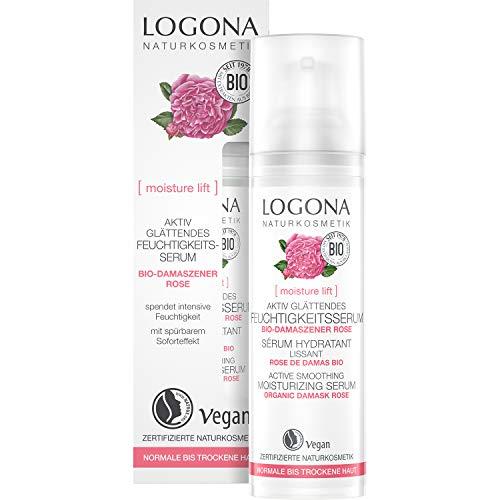 LOGONA Naturkosmetik Aktiv glättendes Feuchtigkeits-Serum, Reichert die Haut intensiv mit Feuchtigkeit an, Vegan, 30ml