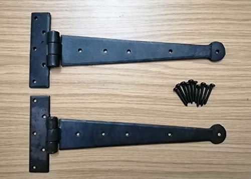Bisagra en T de hierro forjado a mano de 30,48 cm, par de bisagras en T de cera de abeja
