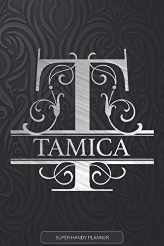 Tamica: Silver Monogram Letter T The Tamica Name - Tamica Name Custom Gift Planner Calendar Notebook Journal