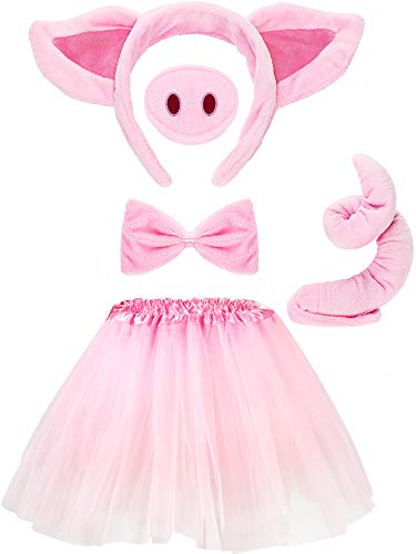Pig Costume Set Pig Ears Nose Tail Bow Tie Tutu Skirt Animal Fancy Costume Kit Accessories for Kids (15.7 Inch)