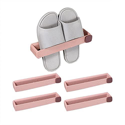 Angou 4 pares de zapateros para baño, zapatero, zapatero, zapatero con zapatero de pared autoadhesivo para almacenamiento de baño, 25 x 5 x 3,5 cm (rosa cerezo)