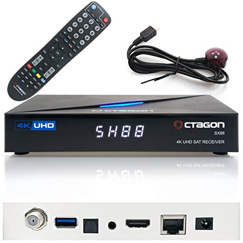 Octagon SX88 4K UHD S2+IP Receiver H.265 1GB RAM 4GB Flash Stalker Multistream Schwarz