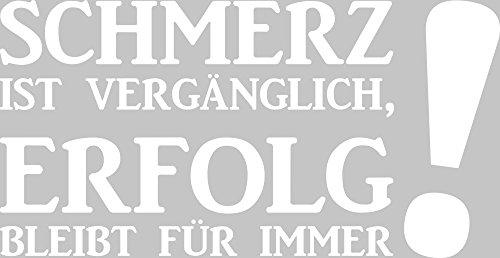 GRAZDesign Wandtattoo Schmerz Ist Vergänglich Wandspruch für Motivation Sportler Motivation, Fitness, Fitnessraum (58x30cm//010 Weiss)