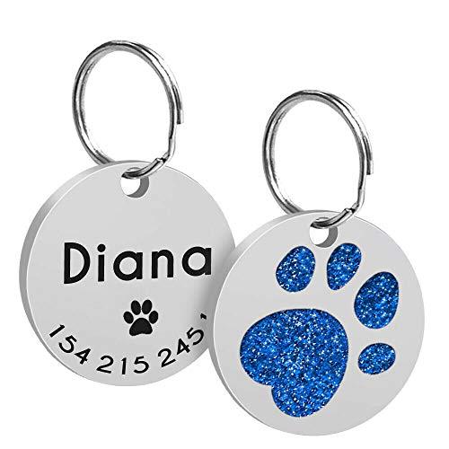 LAOKEAI Personalisierter Hunde Hundemarke mit eingraviertem Namen,Adresse und Telefonnummer Prickelnde Strass Haustier Marke aus Legierung für kleine und mittelgroße Hunde und Katzen(Blau)