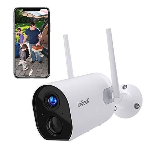 Telecamera di Sorveglianza con 15000mAh Batteria ieGeek Telecamera IP Esterno WIFI, Senza Fili, FHD 1080P, Rilevazione PIR, Audio Bidirezionale, Visione Notturna, Compatibile con Scheda SD/Cloud