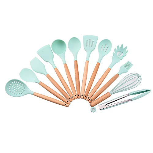 RYDZTMZ Silicone nonstick Kitchen Utensils with Wooden Handle, cookware Spatula Set (Size : D)