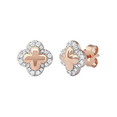 2Hearts 1/4 CT. T.W. Pendientes de botón de trébol con marco de diamante transparente D / VVS1 de corte redondo en plata de ley 925 con baño de oro rosa de 14K