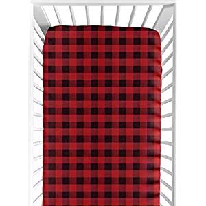 Sweet Jojo Designs Woodland Buffalo Plaid Boy Fitted Crib Sheet Baby or Toddler Bed Nursery – Red and Black Rustic Country Lumberjack