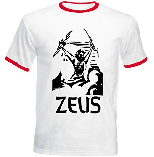 Teesquare1st Men's ZEUS GREEK MYTHOLOGY Red Ringer T-shirt Blanco S