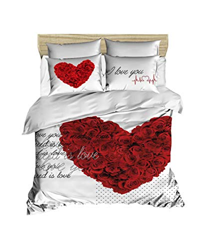 3D Herz Bettbezug Set | Double Duvet Cover Set |% 100 Baumwolle | 200x220 Double | 4er Set Bettwäscheset mit Bettbezug, Laken und Kissenbezug | 4 in 1 with Duvet Cover, Sheet and Pillow Covers