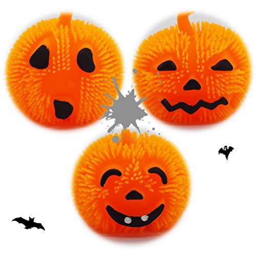 STOBOK 3Pcs Zucca di Halloween Palla Antistress LED Jack- O- Lantern Dolcetto O Scherzetto Lo Stress Relief Giocattolo per Halloween Giorno del Ringraziamento Casa