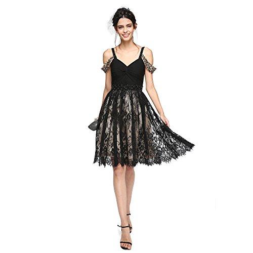 kekafu A-Line Bänder Knie Länge Chiffon Lace Cocktail Party Homecoming Prom Kleid mit Perlenstickerei Criss Cross Raffung durch TS, Sekt, Champagner, US2/UK6/EU32