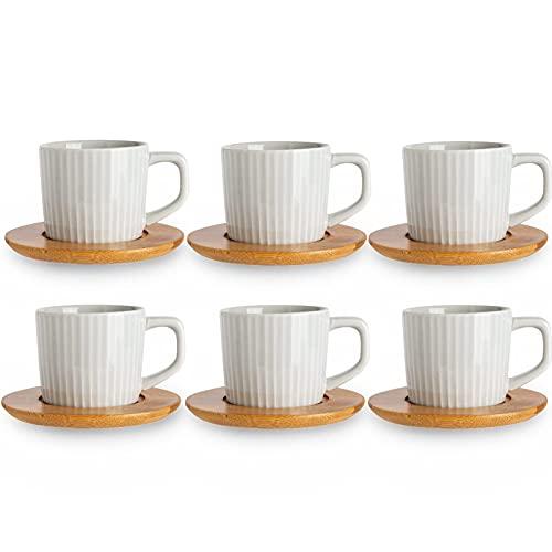 SOPRETY Juego de tazas de café para 6 personas, tazas de café expreso de cerámica con posavasos, para té, café espresso, 90 ml, apto para lavavajillas (gris)