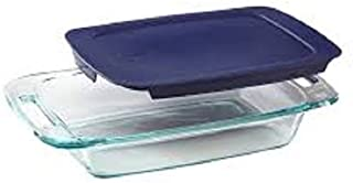 Pyrex Basics 3 Quart Glass Oblong Baking Dish with Blue Plastic Lid - 9 inch x 13 Inch
