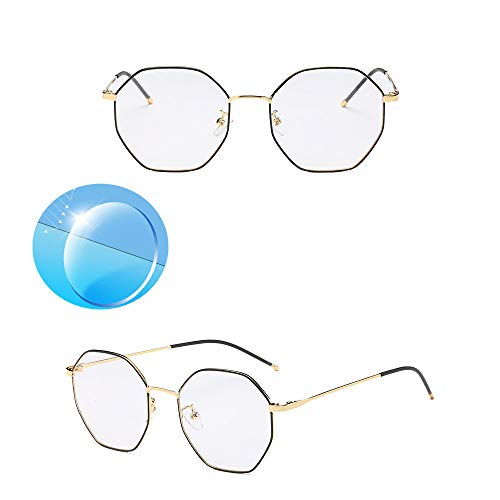 Octagon Korean Style Rimless Reading Business Glasses Titanium Metal Lightweight Computer Blue Light Uv Blocking Glasses Women Men with Blue Light Indicator Light and Test Card