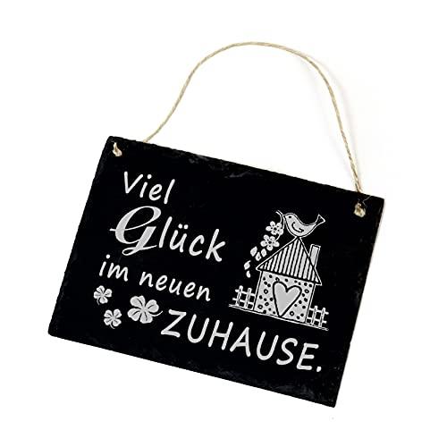 Viel Glück im neuen Zuhause Schild Schiefer mit Spruch Schiefertafel Einzugsgeschenk Türschild 22x16cm | Dekolando