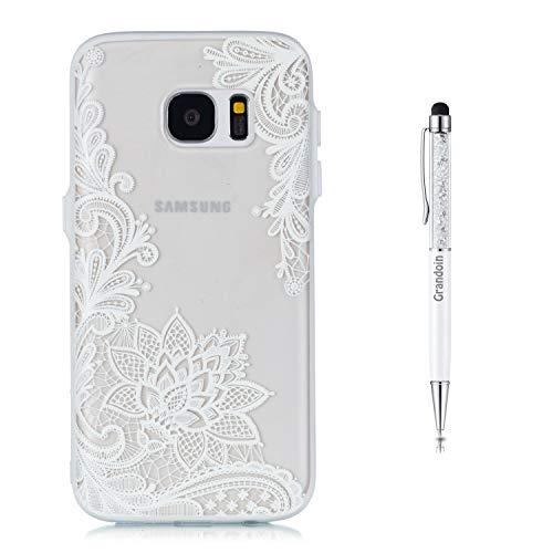 Grandoin Coque Galaxy S7, 2 en 1 Ultra Mince Coque Transparente Silicone Gel TPU Souple avec Cute Motif Dessin Mignon Imprimé, Housse Etui de Premium pour Samsung Galaxy S7 (Lotus Blanc)