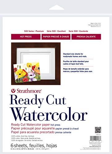 Strathmore 140-311 Ready Cut Watercolor, Hot Press,11' x 14', White, 6 Sheets