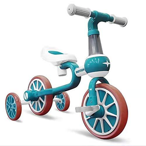 YWJPJ. 4 Ruedas Niños Balance Scooter, Bicicleta de Bicicleta de Balance Infantil con Asiento Ajustable, Dos Modelos de niños/niña Caminantes, Buen Regalo por Edad 1, 2, 3,Verde