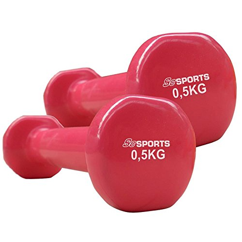 ScSPORTS® Vinylhanteln 2X 0,5 kg, Gymnastik Kurzhanteln mit Einer rutschsicheren & griffigen Oberfläche aus Vinyl, für Aerobic Workout geeignet